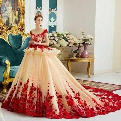 Princess Wedding Dresses Bridal Gown Sweetheart Red Floral Cathedral Lace Custom