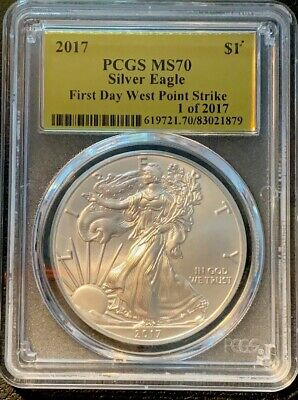 2017 First Day West point Strike Silver Eagle 1 of 2017 Gold Label PCGS MS70