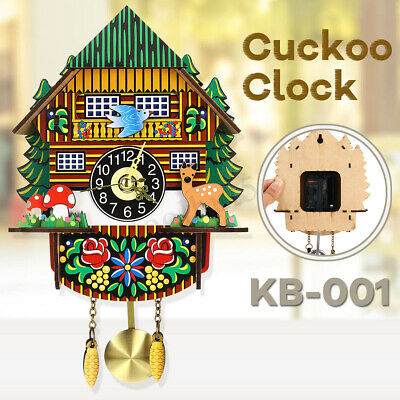 2019 3D Cute Cuckoo Clock Forest Swing Wall Alarm Handmade Room Decor Wooden