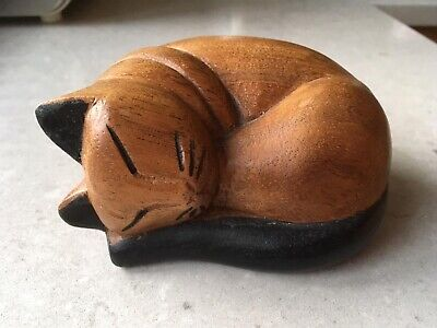 Wooden Sleeping Cat. Hand carved. Excellent condition.