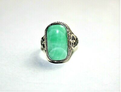 Antique Chinese Filigree Sterling Silver & Jade Ring Size 5.75