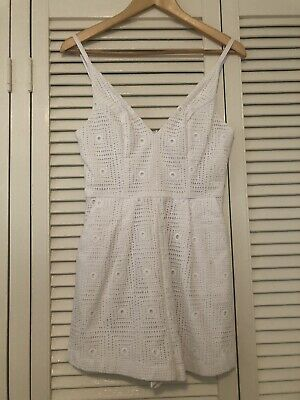 Kookai Size 38 White Shoestring Playsuit