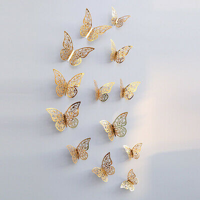 12 pcs / set 3D Papillon Stickers Muraux Amovible Mural Autocollants DIY Z6W4