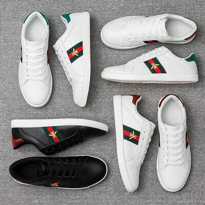 Women Men Luxury Sneakers Casual Athletic Shoes White Embroidery Bee Design Size