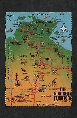 s845)    1970's MV MAP POSTCARD OF THE NORTHERN TERRITORY OF AUSTRALIA