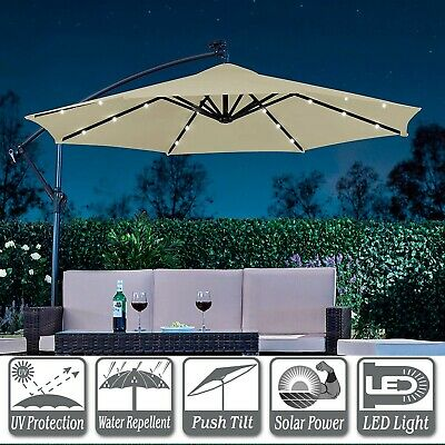 3M Outdoor Solar Patio Garden Led Lights Umbrella Fairy Parasol Sunshade