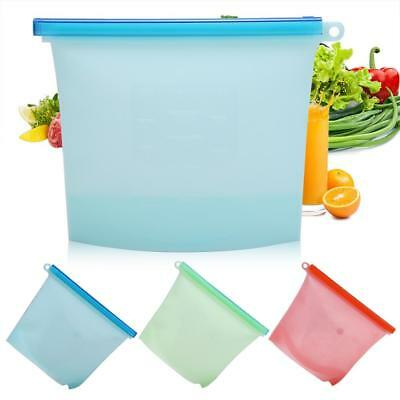 1X Reusable Storage Bag Silicone Food Freezer Fresh Preservation Zip Lock Vacuum