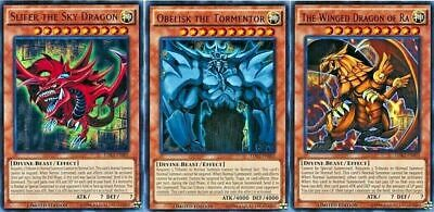 Yugioh Winged Dragon of Ra Obelisk Tormentor Slifer Ultra LDK2 Mint 3 God Cards