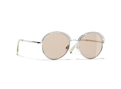 f06afcbb NEW AUTHENTIC CHANEL Round Sunglasses Silver Frame Beige Lens 4247H C.124/73