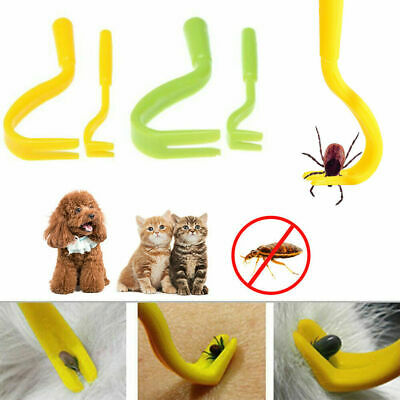 Pet Dog Cat Human Tick Fleas Remover Removal Twister Tool Treatment 2 Hooks New