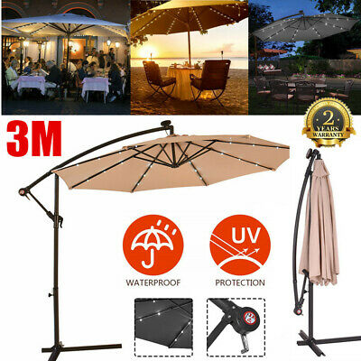 3M Outdoor Solar Patio Garden Led Lights Umbrella Fairy Parasol Sunshade Uv 40+