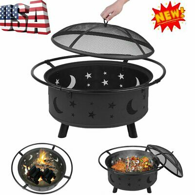 Outdoor Wood Burning Heater Steel Bowl Fire Pit Firepit BBQ Stove Star & Moon MX