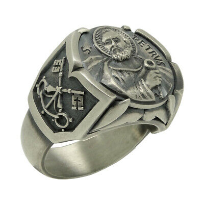 Cross of Saint St. Peter Apostle Pope Sterling Silver 925 Mens Ring