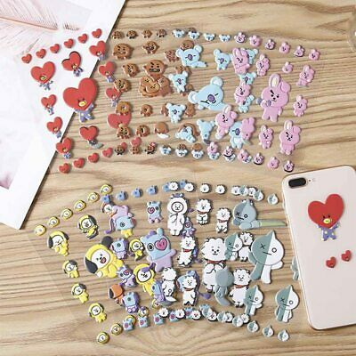 2PCS Kpop BTS Phone Stickers Beautiful Bubble Stickers Cartoon PVC Stickers Cute