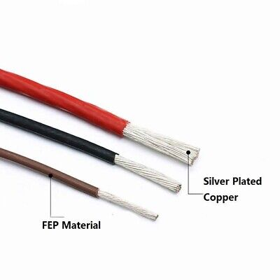 2mm² Stranded Wire F46 FEP Silver Plated Copper Cable O.D 2.4mm Black Red Green