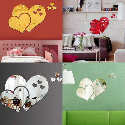 Mirror Love Heart Wall Stickers Decals Home Room Art Mural Decor Removable Sale