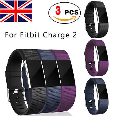 3PCS for Fitbit Charge 2 Replacment Bands Strap Silicone Fitness Wristband Large