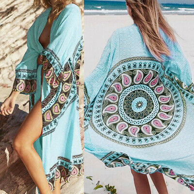 Women Summer Beach Chiffon Bikini Boho Cover Up Long Sleeves Cardigan Casual Top