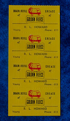 GOLDEN FLEECE .. 4 x Old Original Vintage 1960,s Car service stickers