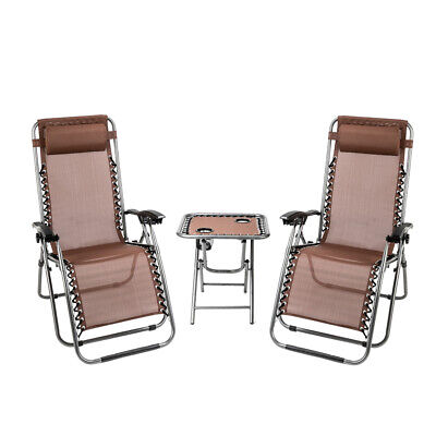 2PCS Outdoor Zero Gravity Lounge Chair Recliner Beach + I Table W/ Cup Holder