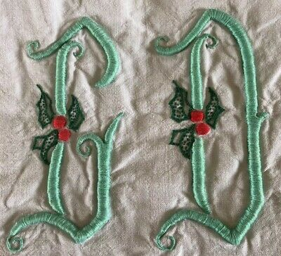 Vintage French Sheet GD Monogram Ladder Stitch Christmas Holly Leaves 2m X 3m