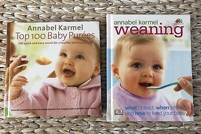 2x Annabel Karmel Baby Books: Weaning & Top 100 Baby Purees