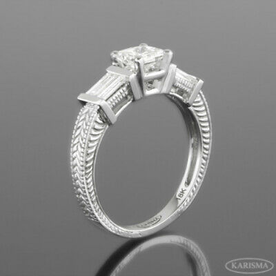 Vs1 D Diamond Ring Triple 14 Kt White Gold Accents 1.31 Carat Flawless Ornate