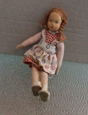Dollhouse Mini Figure Doll Red Hair Stockinette Face Cute Checked Dress Pinafore