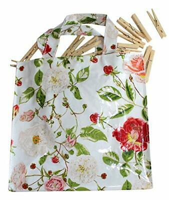 Pink & White Tea Roses Design Wipe Clean PVC PEG Bag with 40 Wooden Clothes PEGS
