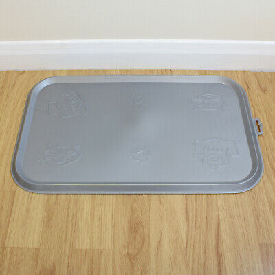Grey Place Mat for Pet Food Bowl & Dish Cat/Kitten/Dog/Puppy Rubber Feeding Tray
