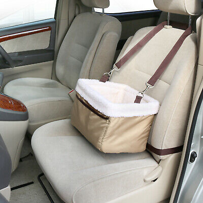 Beige Pet Car Carrier Bed with Safety Belt for Dog/Cat Puppy/Travel Booster Seat