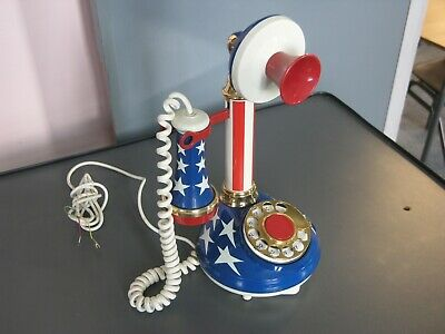Candlestick telephone (vintage 1973), stars and stripes USA flag design