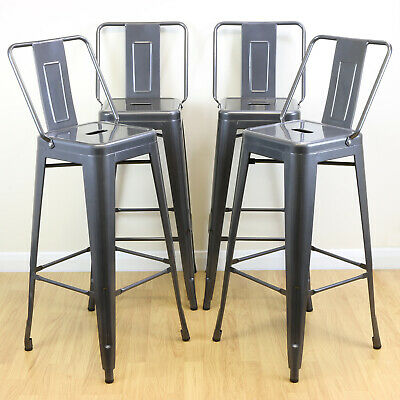 Set of 4 Gunmetal Stools & Back Rests Industrial/Metal Breakfast Bar/Cafe/Bistro