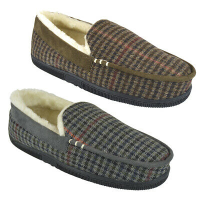 Mens Tweed Check Suede Trim Cream Faux Fur Lined Moccasin Slippers UK Sizes 7-12