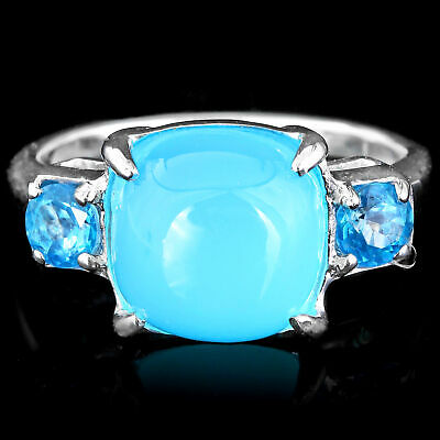 100% Natural 10Mm Blue Chalcedony & Swiss Blue Topaz Silver 925 Ring Size 7