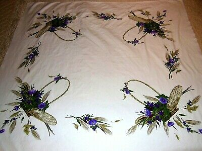 CALIFORNIA HAND PRINTS Tablecloth MY FAIR LADY Purple Flowers Brown Baskets