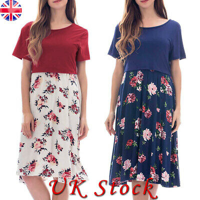 Pregnant Women Maternity Summer Casual Floral Loose Short Sleeve Dresses 10-18