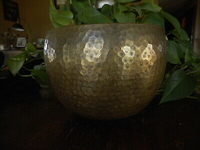 Arts Crafts Vintage Hammered Look Bowl Brass ? Bronze ? Copper ? Flower Pot