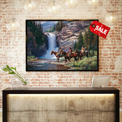 Oil Painting Art Print on Canvas Indians Have Mountain Waterfall Home Deco 12x16