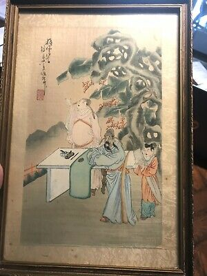Antique Chinese PAINTING Scholars Working * Asian Artwork