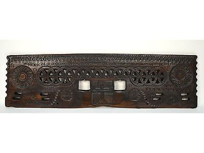 Large 16th c, Architectural Carved Wood Religious Above Door Pediment Panel