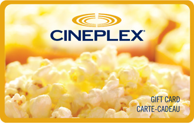 Cineplex Gift Card - $12.02 Mail or Email Delivery