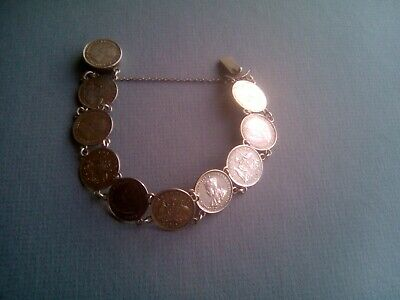 Gv Australian Silver Three Pence Coins Silver Bracelet.
