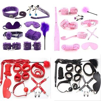 10pcs/set-Adult-Sex-SM-Toy-Handcuffs-Cuffs-Strap-Whip-Rope-Neck-Bandage-Sexy-SMs