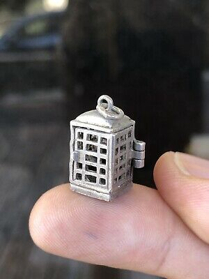 Antique Sterling Silver 925 Edwardian / Victorian Charm Pendant Telephone Booth
