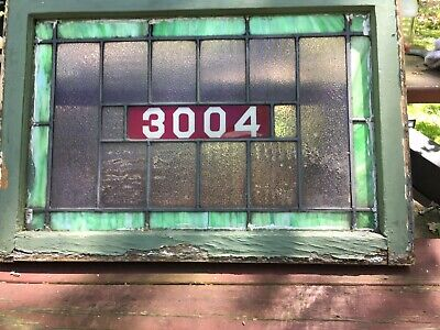 antique stained glass window transom  addressed 3004. Dimensions 32x22x1.5""