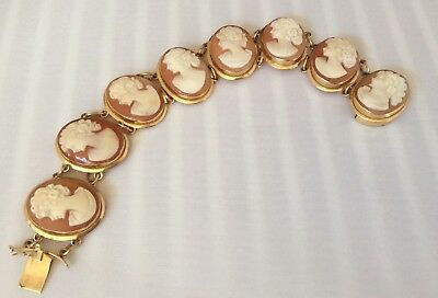 Vintage 14k Fine Yellow Gold Carved Shell Cameo Bracelet