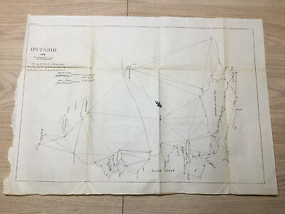 1898 Map of 1819 Ontario Duck Islands Isle Tonly Amherst Quinte Treaty of Ghent