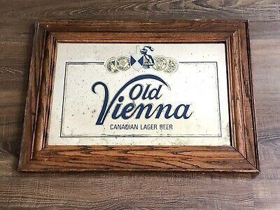 Vintage Old Vienna Beer Sign Mirror Canadian Imported Lager Man Cave Pub Bar