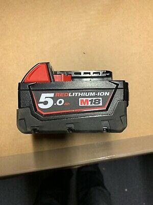 Milwaukee M18B5 5Ah 18V M18 Fuel Red Lithium Ion Battery , Very Little Used